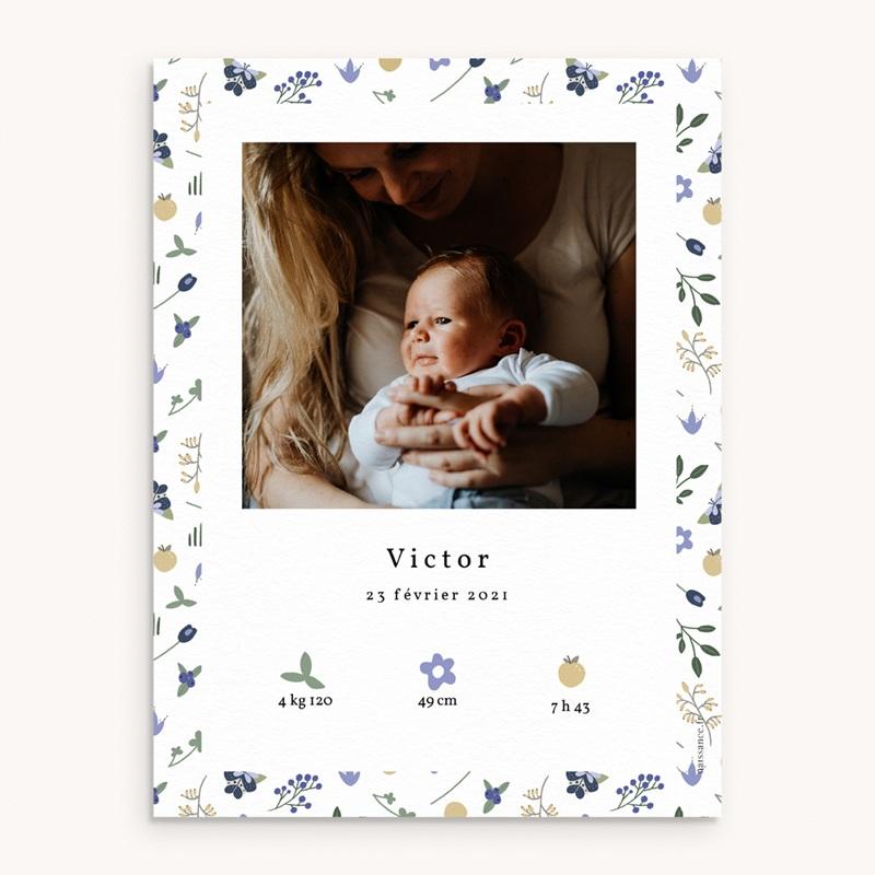 Affiche Déco Chambre Enfant Fleurs et trèfles bleus, 30 x 40 cm