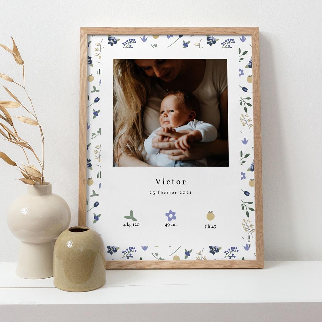 Affiche Déco Chambre Enfant Fleurs et trèfles bleus, 30 x 40 cm pas cher