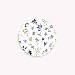 Sticker Enveloppe Naissance Fleurs et trèfles bleus, 4,5 cm
