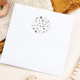 Sticker Enveloppe Naissance Fleurs et trèfles bleus, 4,5 cm pas cher