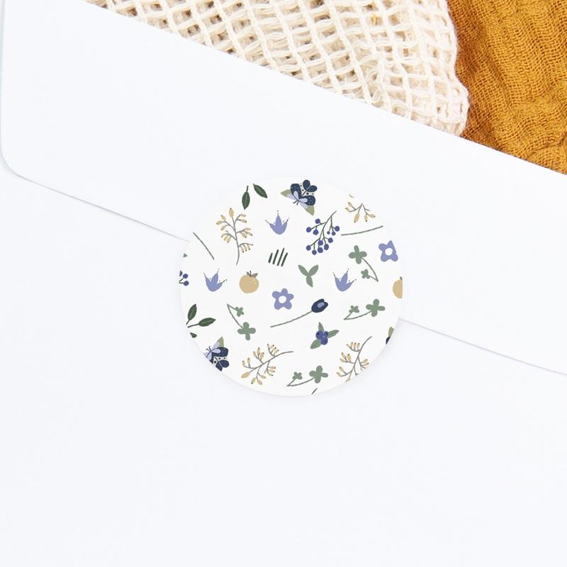 Sticker Enveloppe Naissance Fleurs et trèfles bleus, 4,5 cm gratuit