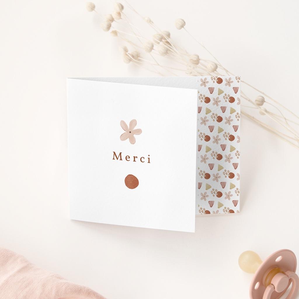 Carte de Remerciement Naissance Trio de formes, pli décalé gratuit