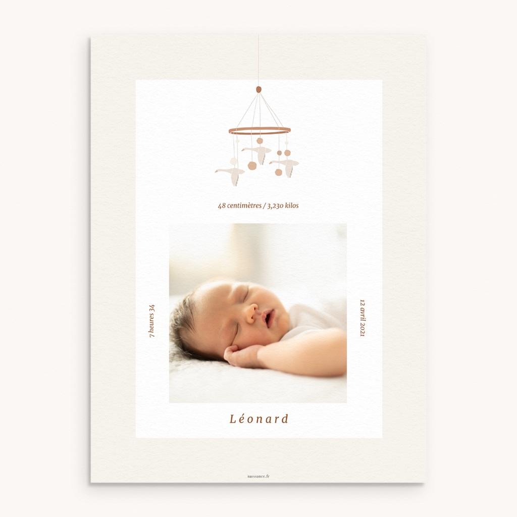 Affiche Déco Chambre Enfant Mobile oies, Portrait, 30 x 40 cm