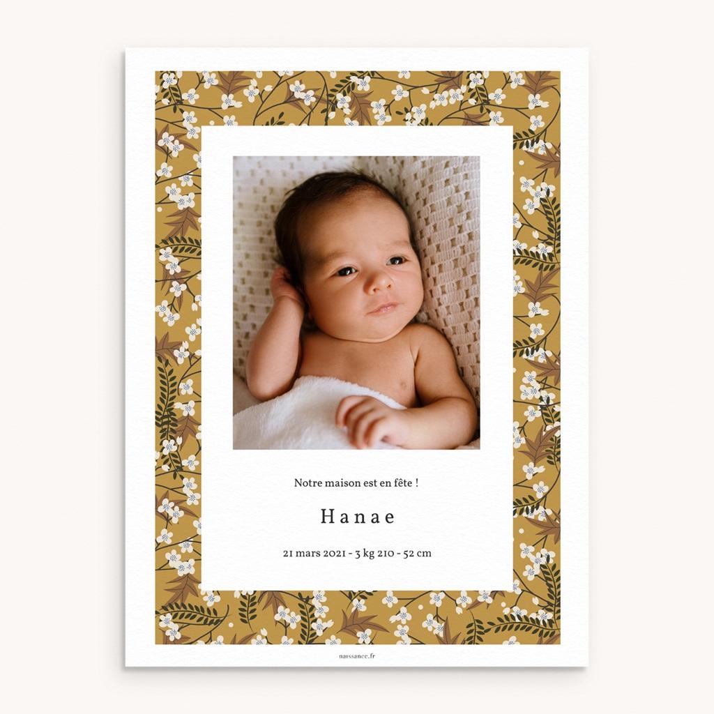 Affiche Déco Chambre Enfant Liberty cerisier, Fond Curry