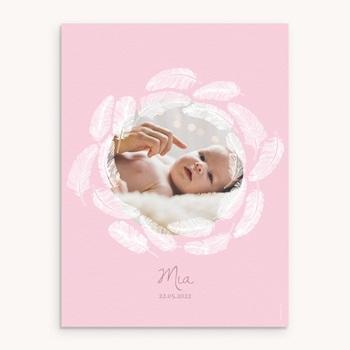 Affiche Déco Chambre Enfant Douce plume rose personnalisé
