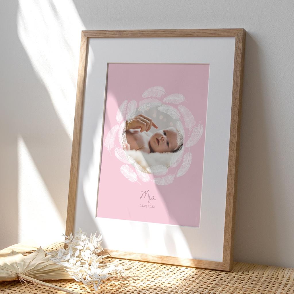 Affiche Déco Chambre Enfant Douce plume rose