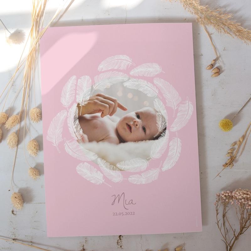 Affiche Déco Chambre Enfant Douce plume rose gratuit