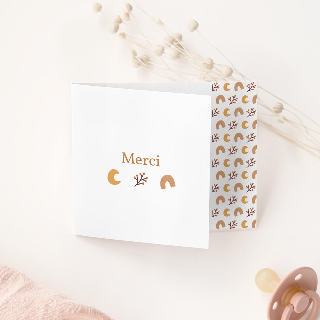Carte de Remerciement Naissance Tutti Frutti d'Automne, pli decalé gratuit