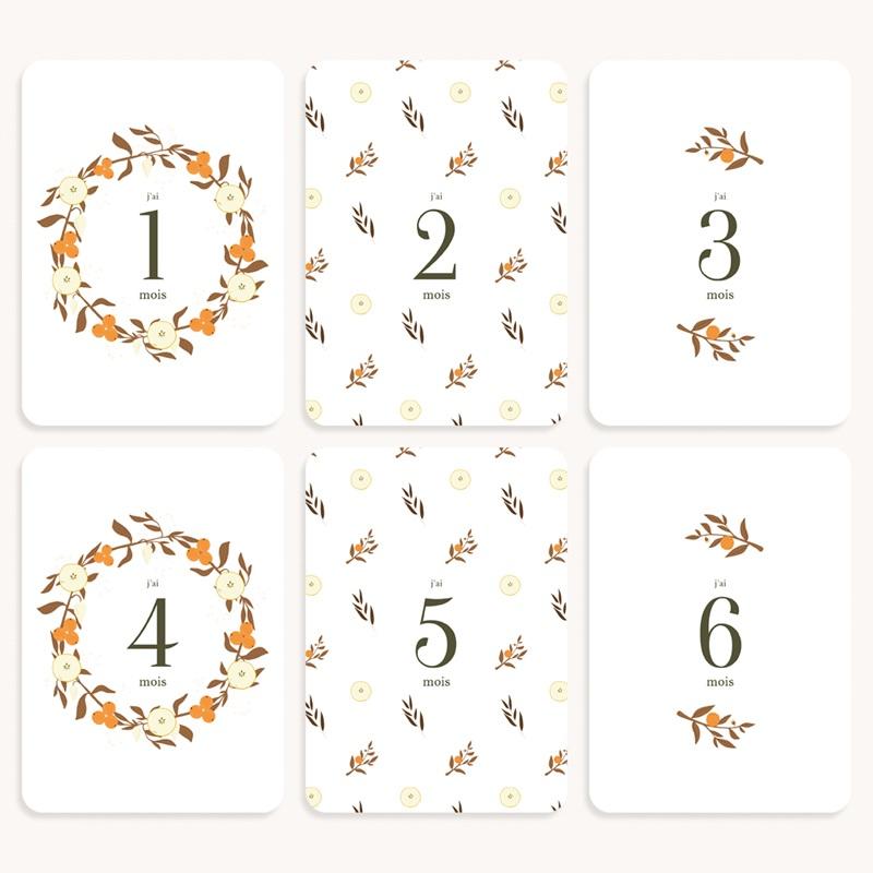 Carte Etape Couronne d'oranges & fleurs, Lot de 12