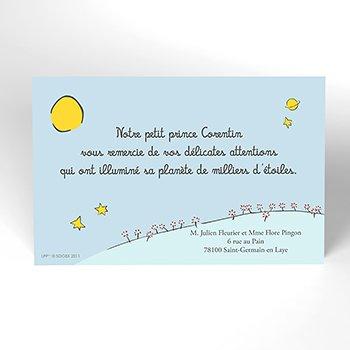 Carte de Remerciement Naissance Le Petit Prince 2 original