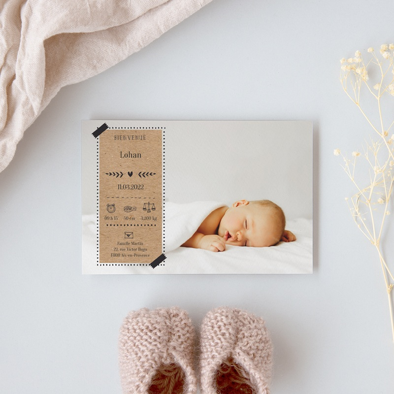 Faire-part de Naissance Kraft & Photo, 10 x 15 cm