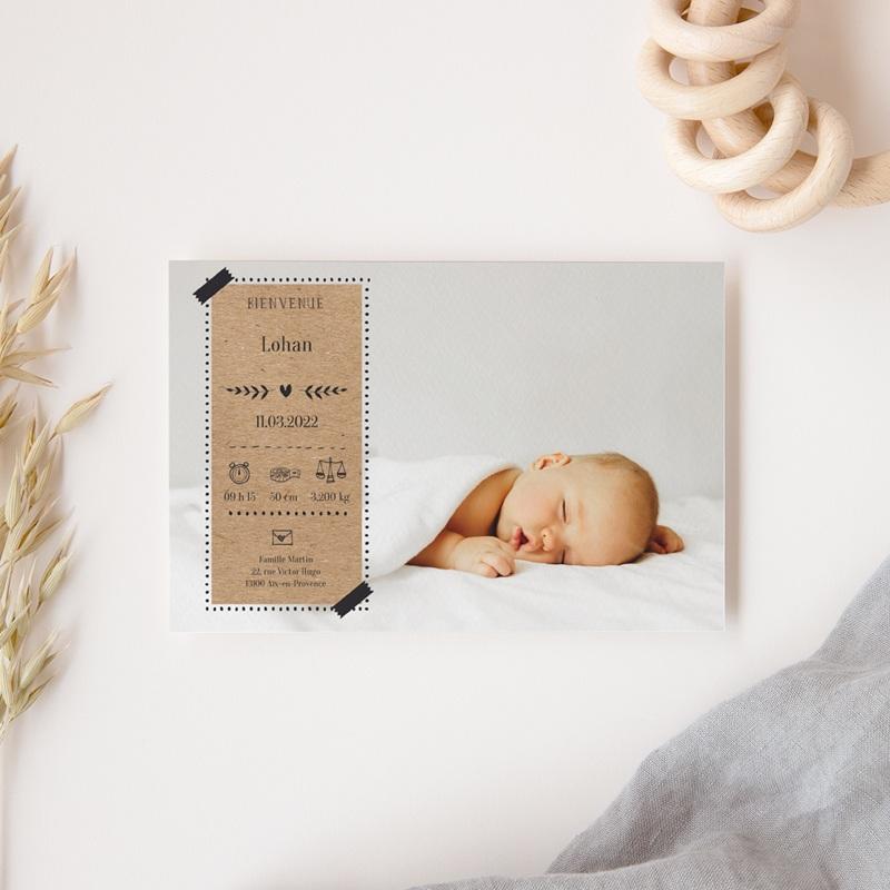Faire-part de Naissance Kraft & Photo, 10 x 15 cm gratuit