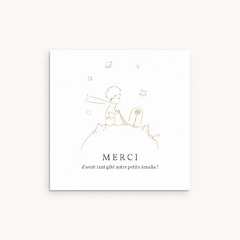 Carte de Remerciement Naissance La rose dorée du Petit Prince, 10 x 10