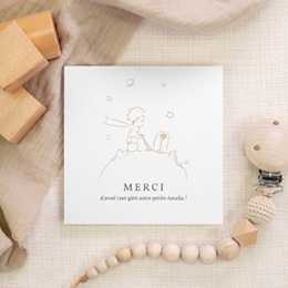 Carte de Remerciement Naissance La rose dorée du Petit Prince, 10 x 10 gratuit