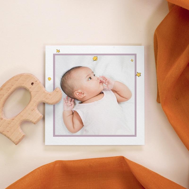 Carte de Remerciement Naissance Initiale de la Rose, 10 x 10, photo