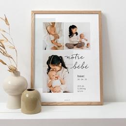 Affiche Déco Chambre Enfant Notre bébé garçon, 30 x 40 cm pas cher