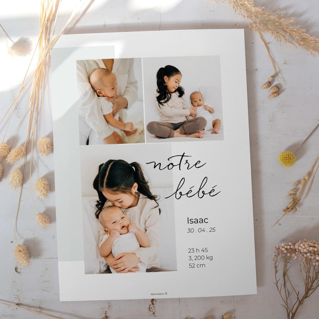 Affiche Déco Chambre Enfant Notre bébé garçon, 30 x 40 cm gratuit